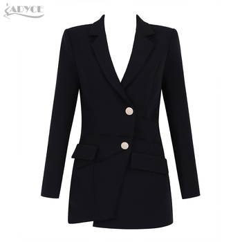 Adyce 2018 New Winter Fashion Women Slim Trench Coat Black Sexy Deep V-Neck Single Breasted Long Sleeve Women Out Wear Club Coat