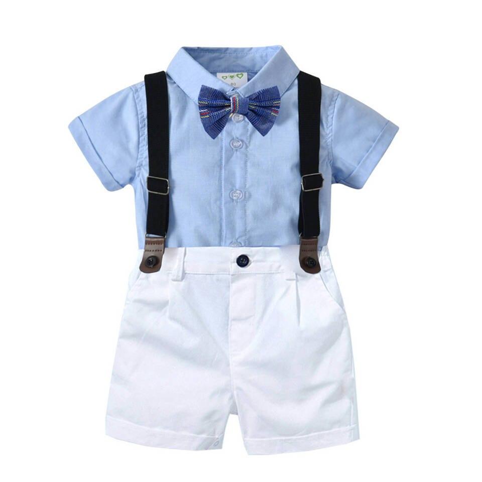 Toddler Kids Baby Boy Gentleman Party Bowtie Shirt Tops+Pants Shorts Clothes Set