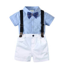 Summer Baby Boy Suit Gentleman Clothes Shirt Party Formal Romper Bow + Belt Pants Infant Evening Clothing Set for Newborn Outfit недорого