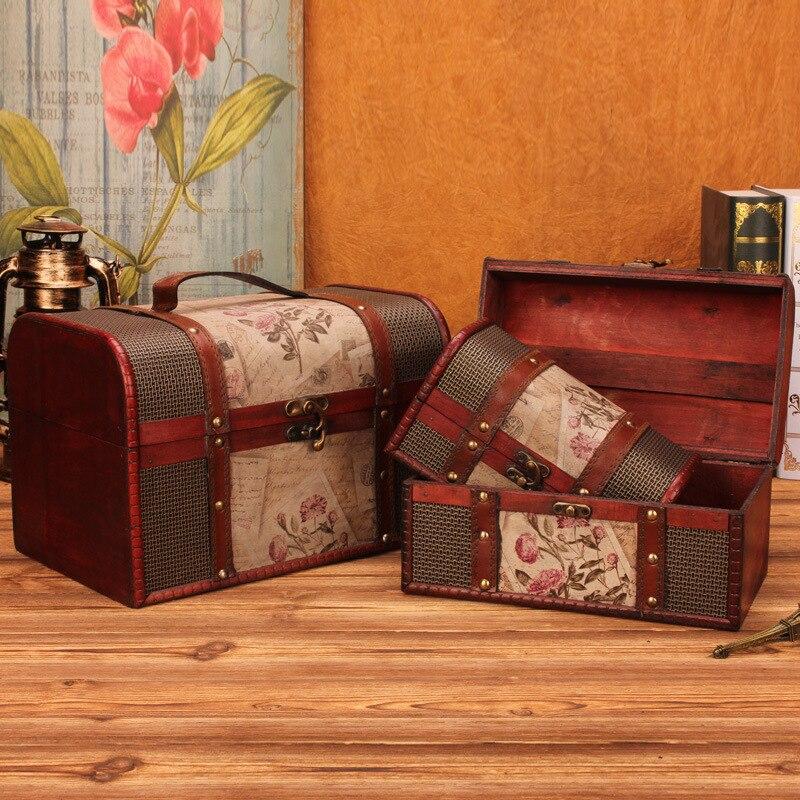 Home Decor Storage Boxes: Retro Wooden Treasure Box Makeup Organizer Jewelry Box