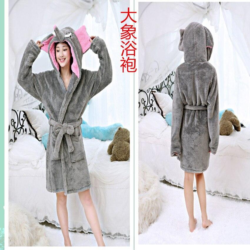 Shu cotton wool robe cute cartoon elephant robe sexy comfortable comfortable home clothes.