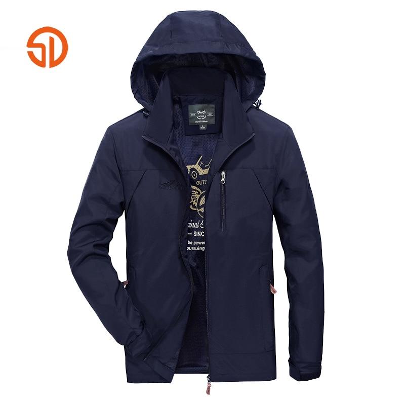 Spring Sunmer Coat Jacket Men Comfortable Waterproof Jackets Plus Size XXXXL Polyester Hooded Jackets Mens Windbreaker M-4XL