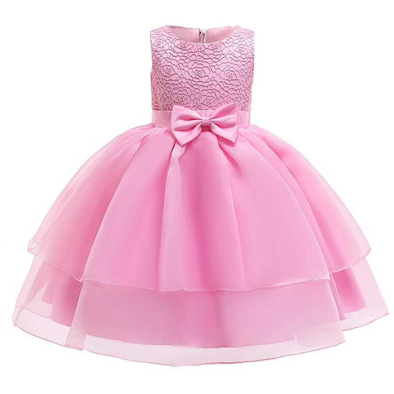 2019 Mesh bow   flower     girl     dress   first communion   dresses   for kids pageant   dresses   for   girls   baby costume children's clothing