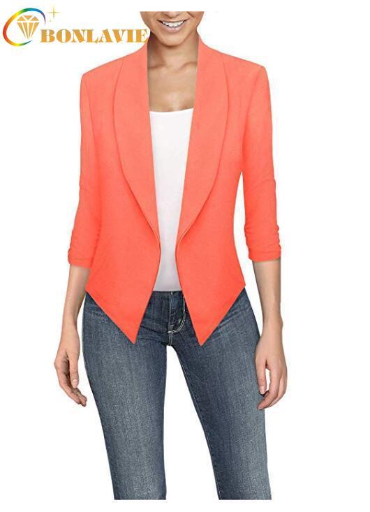 Spring Summer Women Blazer Long Sleeved Solid Color Cardigan Irregular Hem Safari Style Notched No Buttons Office Lady Jacket