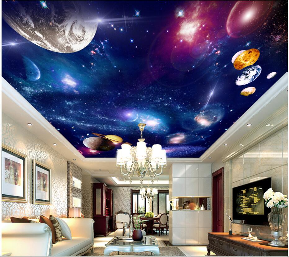 Custom photo 3d wallpaper Galaxy cosmic space planet ceiling murals room decoration painting 3d wall murals wallpaper walls 3 d custom soft fleece throw blanket apartment decor outer space nebula galaxy stars mars jupiter with a tree on a planet print