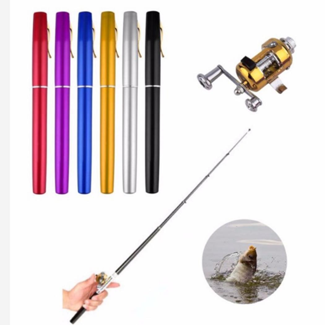 Portable Pocket Telescopic Mini Fishing Pole Pen Shape Folded Fishing Rods With Reel Wheel New Purple Blue Black Red Gold Silver a200 steel fishing reel black silver