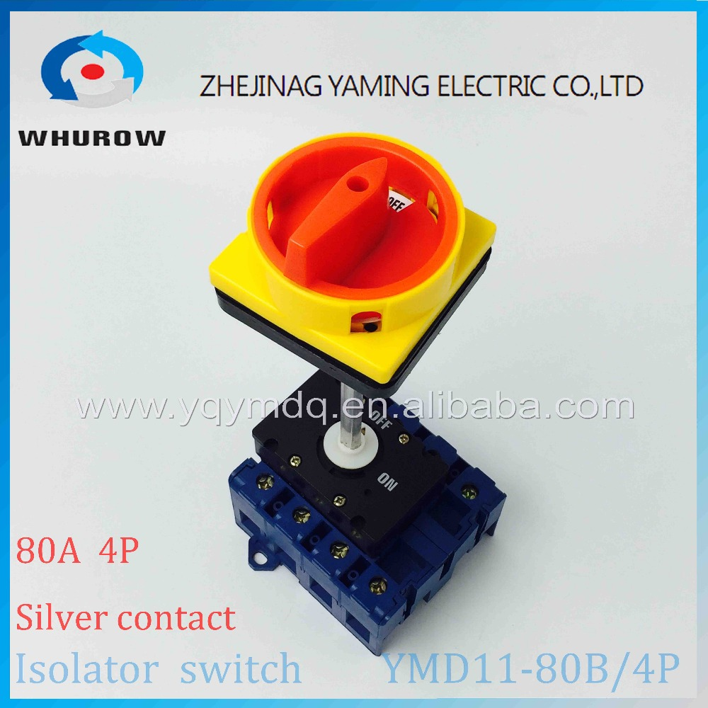 Isolator switch YMD11-80B 4P 690V with padlock aluminum pole 80A Load break power cut off operation outside electrical cabinet