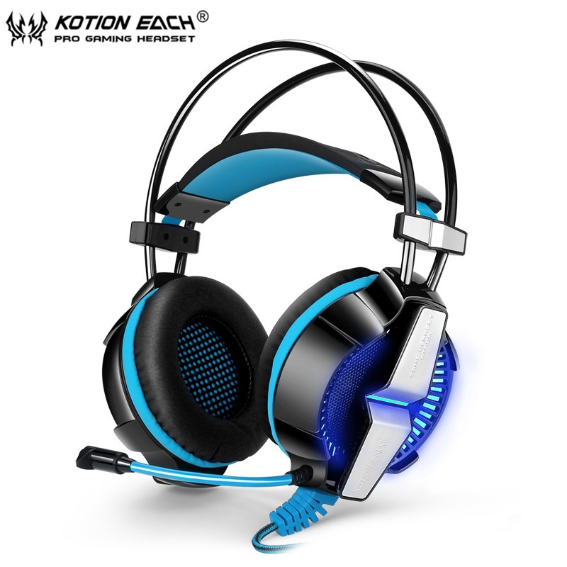 KOTION EACH GS700 Deep Bass Gaming Headset Earphone Headband 3.5MM Stereo Headphone with Mic LED Light for PC Gamer Mobile Phone 2pcs each g1000 over ear game gaming headset earphone headband headphone with mic stereo bass led light for pc gamer