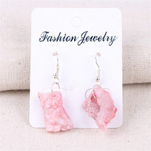 Handmade Irregular Natural Stone Fragments Earrings Pink Crystal Agates Ethnic Style Jewelry Earring