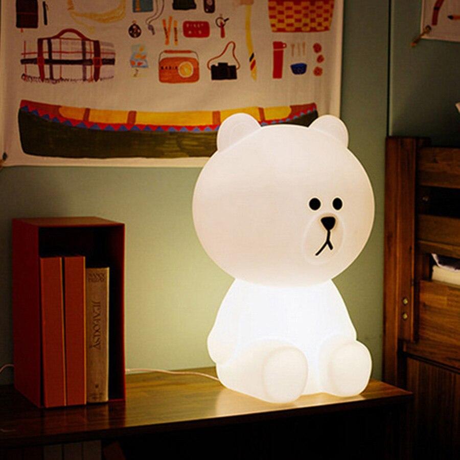 Thrisdar 30CM Dimmable Cute Bear Led Night Light Baby Feeding Night Light Carton Desk Table Lamps Childrens Toy Gift Light