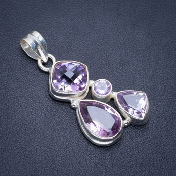 "Natural Amethyst Handmade Unique 925 Sterling Silver Pendant 1.5"" A1859"