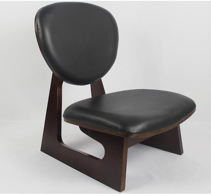 Japanese Style Wood Low Chair Stool Mahogany Finish Living Room Furniture Leisure Kneeling Chair Meditation Seat Leather Cushion