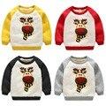 High Quality LittleSpring Kids Boy Sweatshirts Lambswool Thicken Pullover Cartoon Sheep 2017 New Winter Warm Boys Hoodies Tops