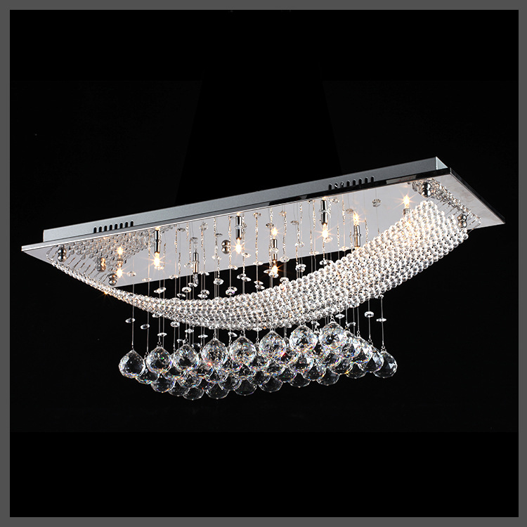 Fashion LED Rectangle Ceiling Light K9 Crystal Balls Dining Room Bedroom Lighting ceiling Light fixture lamp G4 bulb ZXD0036