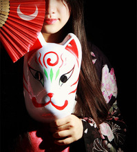 Hand-Painted Full Face Japanese Fox Mask Kitsune Night Dream Cosplay PVC Masquerade Collection Noh Party Carnival B1
