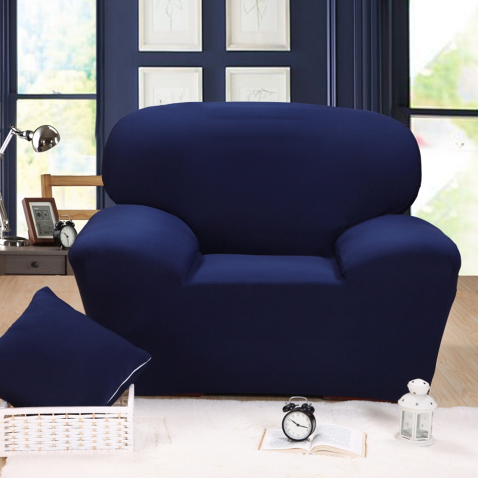 Blue solid color universal stretch sofa cover for living - What size couch for my living room ...