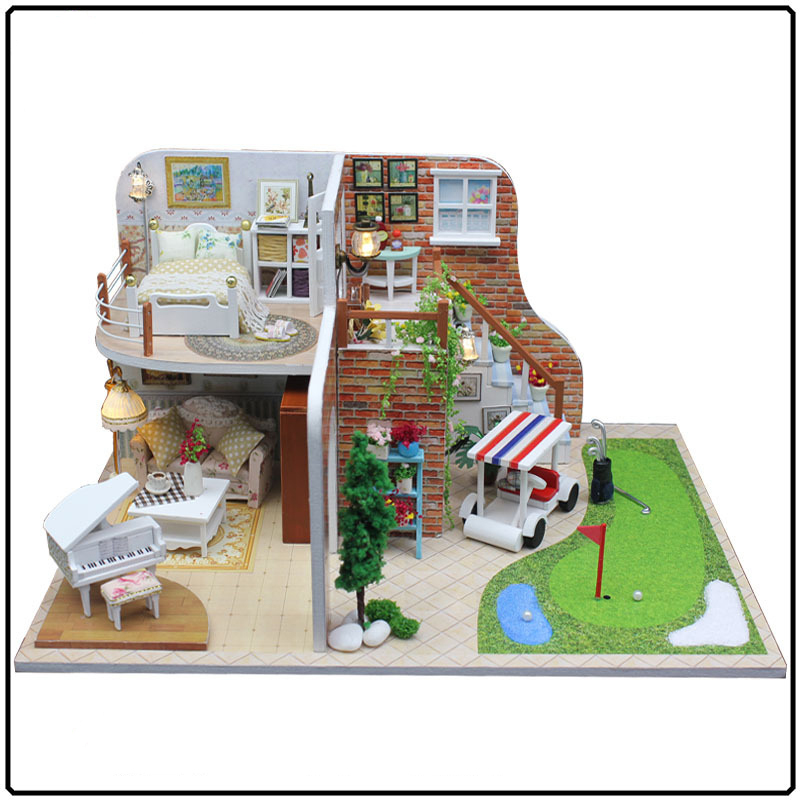 Wood Dollhouse Furniture Kit Miniature Golf Course Craft Model DIY Doll House LED Lights Handmade Birthday Christmas Gift