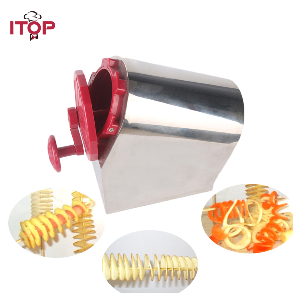 ITOP Manual Stainless Steel Twisted Potato Slicer Spiral Vegetable Cutter French Fry perfect fries potato chips fry cutter vegetable natural french fry cutter vegetable fruit cutter slicer tool