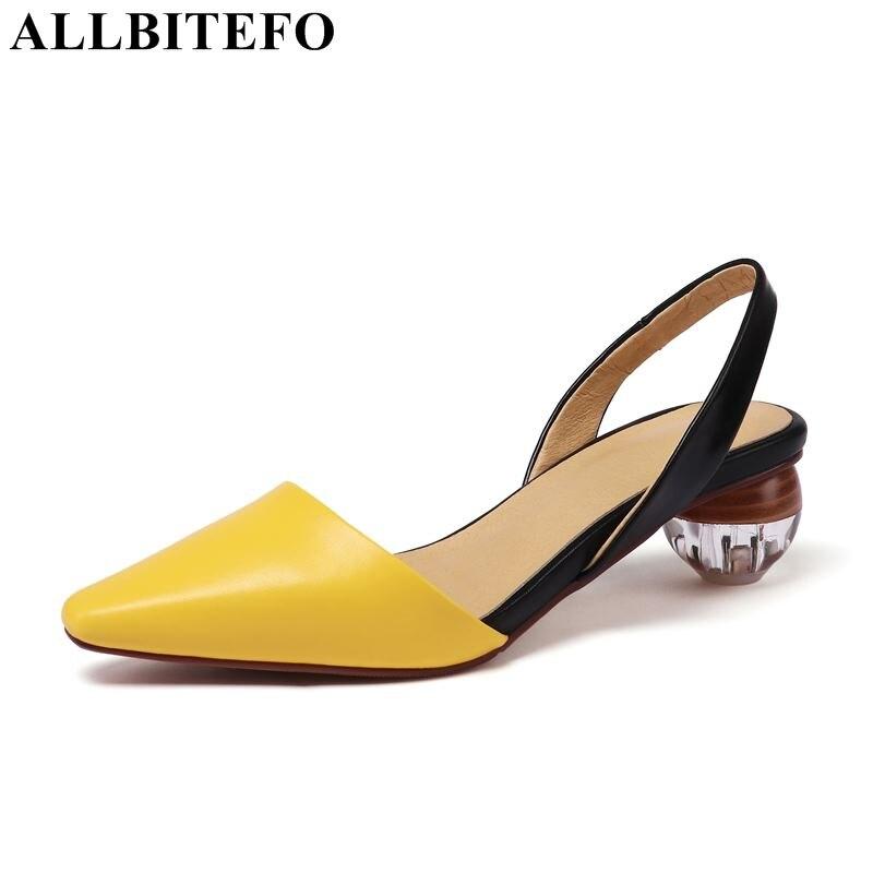 ALLBITEFO gorąca sprzedaż prawdziwej skóry kwadratowych toe wysokie obcasy damskie buty letnie kobiety sandały party damskie buty dziewczyny sandały w Średni obcas od Buty na  Grupa 1