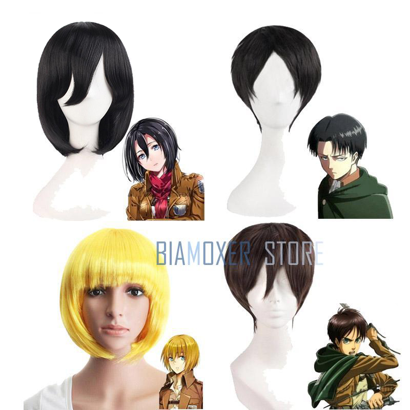 Shingeki No Kyojin Attack On Titan Wigs Mikasa Levi Sasha Eren Cosplay Costume Black Yellow And Brown Short Hair
