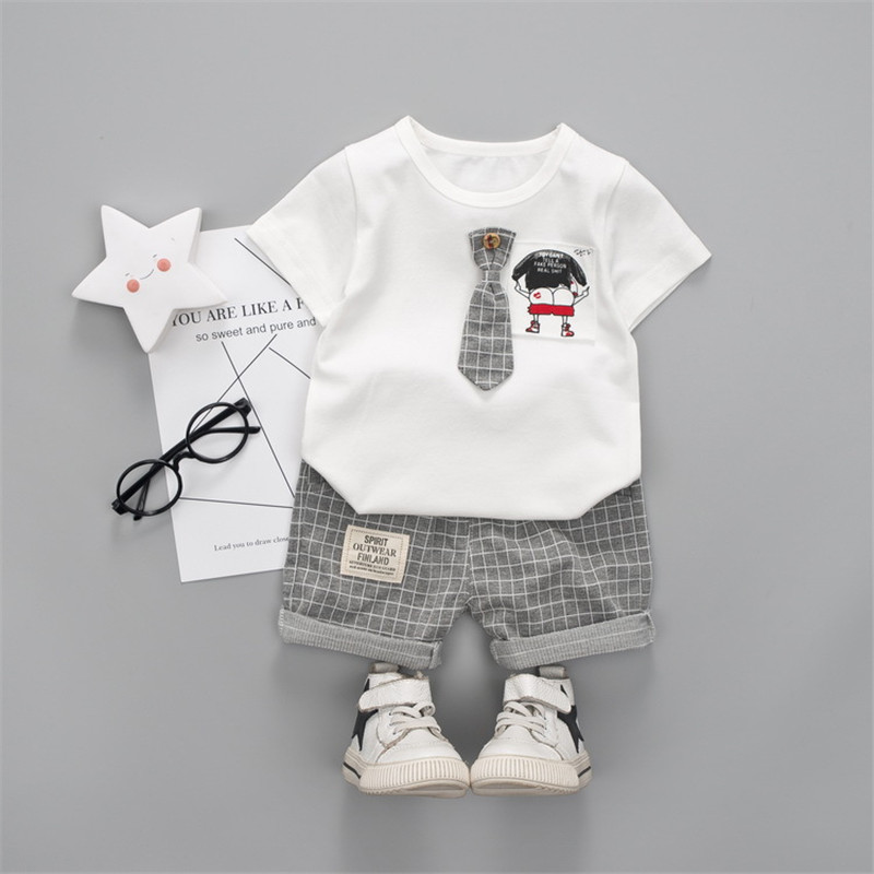 baby boy clothes sets summer cotton Suit tie cartoon pattern short sleeve shirt tops+plaid pants 1-4 y childrens girl clothers