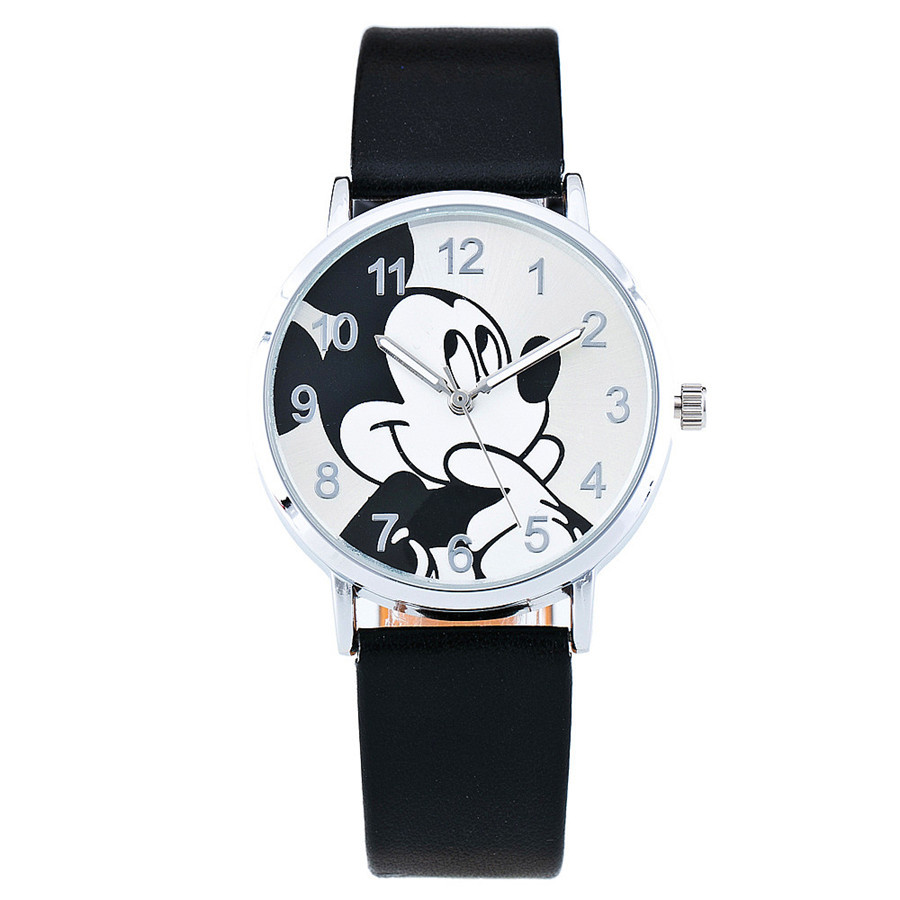 Relogio Feminino Children Watches Fashion Casual Cartoon Girl Boy Students Watch Mickey Mouse Women Leather Quartz Wrist Watches rainbow color stripe cartoon kids children watch boy girl novelty transparent band wrist watches