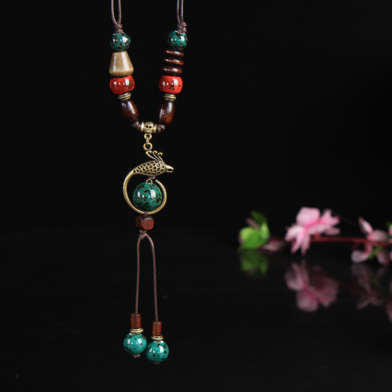 Copper Phoenix Pendant Ceramic Drop Necklace