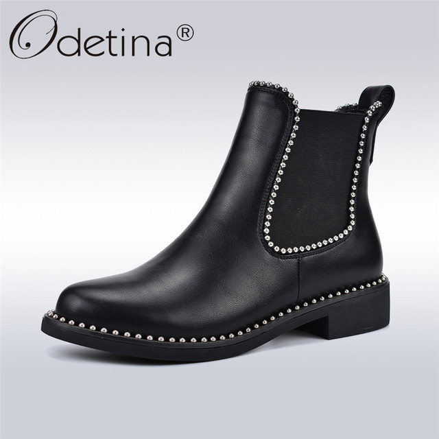 Odetina New Fashion Rivet Chelsea Stiefel For Damens Comfortable Chunky Chunky Comfortable ... bcc154