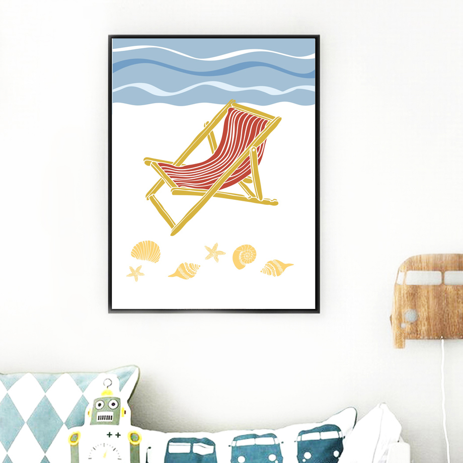 Abstract Cartoon Sea Ship Beach Chair Bird Wall Art Canvas Painting Nordic Posters And Prints Wall Pictures Kids Room Decor