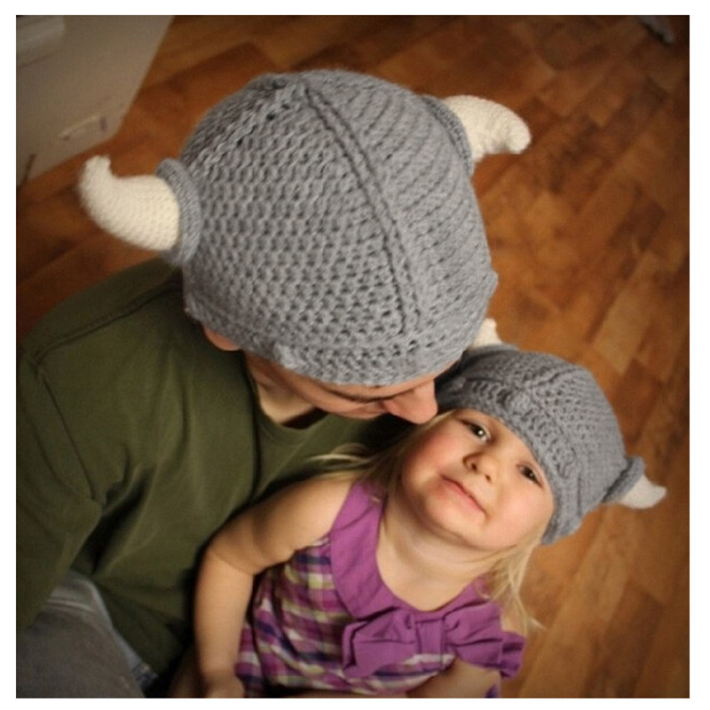 b2b365e5a57 2016 Children Infant Handmade Crochet Winter Hats Kid Viking Horns Hat  Knitted Caps Snapback Swag Skullies Caps-in Hats   Caps from Mother   Kids  on ...