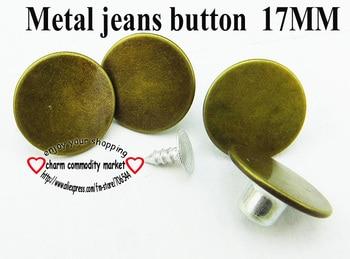 17MM pantalones metálicos tono bronce jeans botón 30 Uds accesorios de costura decorativos marca jean botones JMB-113