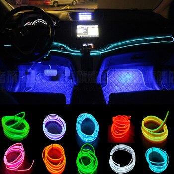 цена на JXF Car Lights Signal Decorative Lamp Accessories 2meter interior clamping-edge EL Wire Flexible Neon Decorate With Cigarette