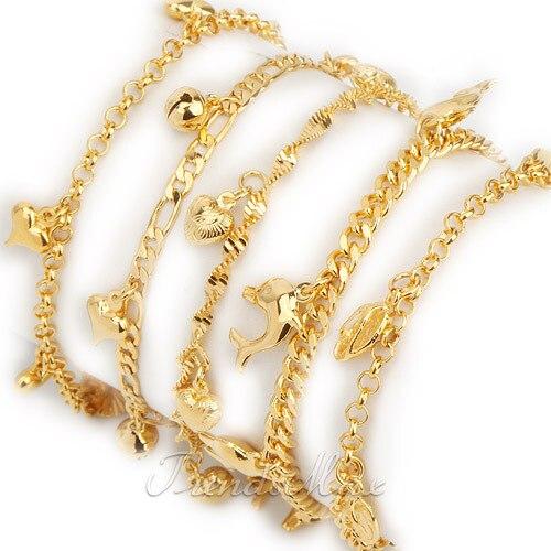 Womens Girls Bracelet 18K Gold Filled Charm Bracelet Link ... Gold Charm Bracelets For Girls