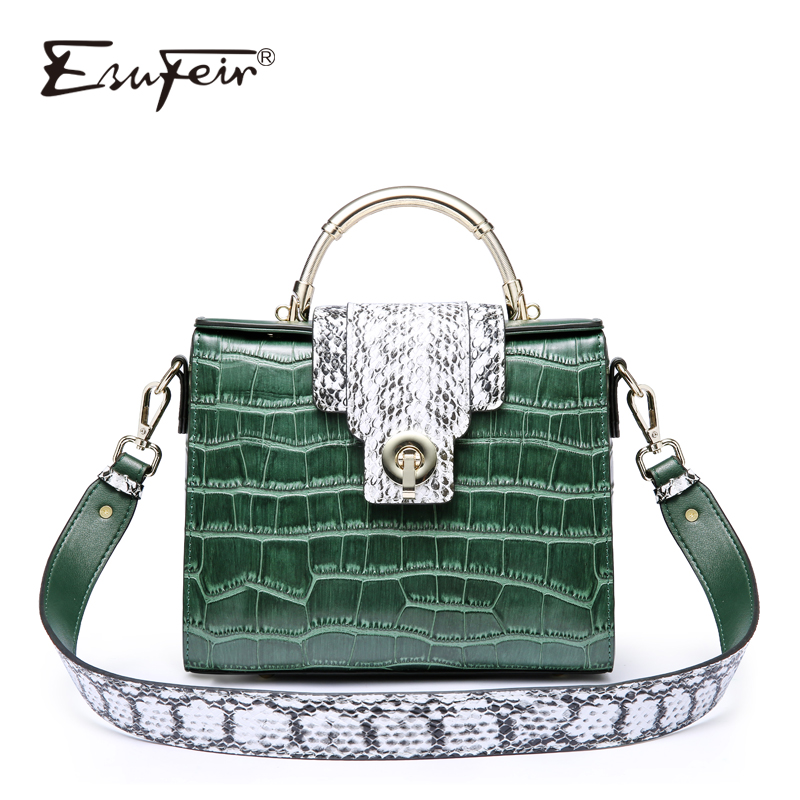 ESUFEIR Brand Genuine Leather Women Handbag Serpentine Panelled Shoulder Bag Fashion Crossbody Bag Tote Messenger bag For Women elegant serpentine pattern handbag shengdilu brand 2018 new women genuine leather tote shoulder messenger bag free shipping