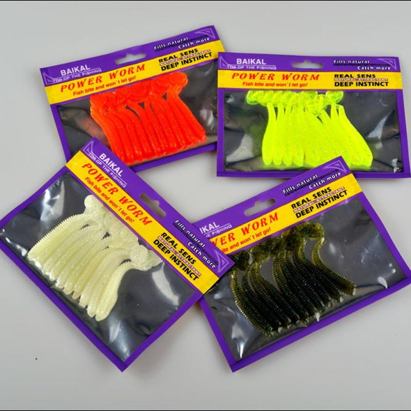 Fishing Soft Bait Lure Screw T Tail Long Tails Fish 75mm/2g Worm Bait Artificial Lures 10 Pieces Bag fishing soft lure screw t tails 75mm 2g long tail fish bait lot 3 pieces