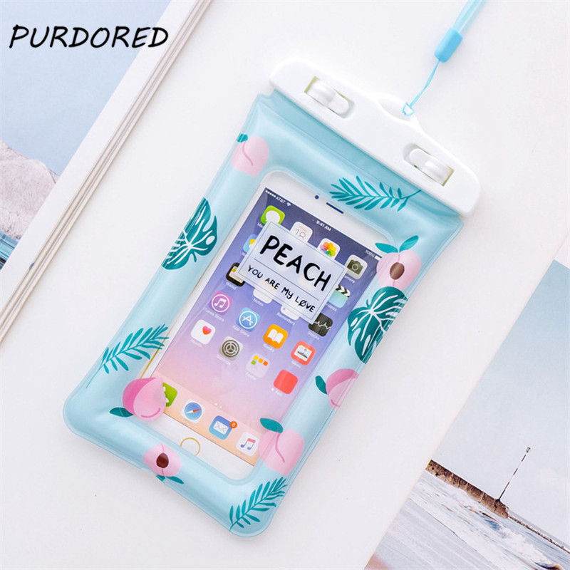 PURDORED 1 Pc Women Travel Wateproof Phone Coin Bag Swimming Gear Phone Dry Bag Summer Beach Case Water Fun Travel Accessories