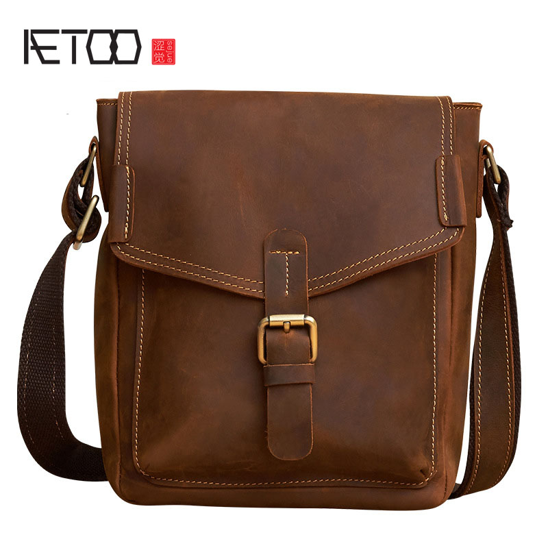 AETOO New leather men bag retro handmade men bag Korean casual first layer of leather Messenger bag shoulder bag leather handbag shoulder bag casual first layer of leather men s oil wax messenger bag korean man bag tide