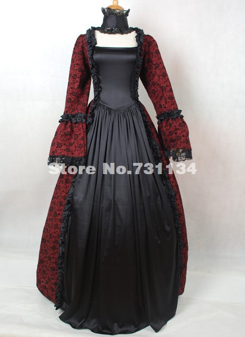 Black And Dark Red Printed Halloween Victorian Ball Gowns Costumes ...