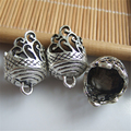 10 pcs Antique Silver Lace Lacework Embossment Grain End Cap Beads For DIY Jewelry Fittings