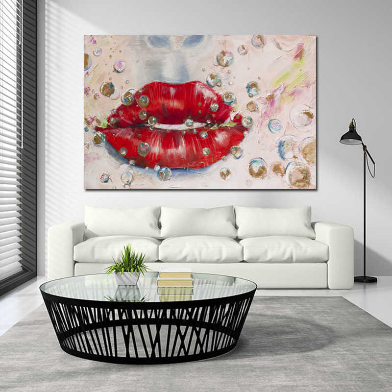 SELFLESSLY Colorful Abstract Art Canvas Painting Red Lips Wall Pictures for Living Room Canvas Art Prints Posters Decoration