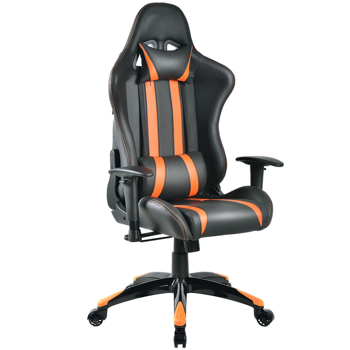 Giantex Racing High Back Reclining Gaming Chair Ergonomic Computer Desk Home Office Chair Modern Gaming Chairs HW53993OR 240340 high quality back pillow office chair 3d handrail function computer household ergonomic chair 360 degree rotating seat