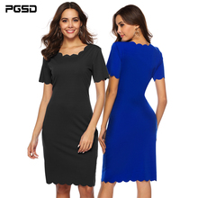 PGSD New Summer solid color short-sleeve slim Wavy edge O-neck Irregular Short Casual Dress female Simple Fashion Women Clothes