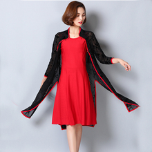 KEKURILY 2 piece suits dress with cardigan sets plus size 3xl 4xl 5xl elegant noble vintage party dresses floral lace red robe