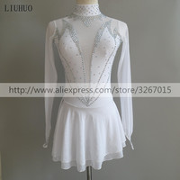 Figure Skating Dress Women's Girls' Ice Skating Dress Competitive performance clothing White Stand collar long sleeve Dance