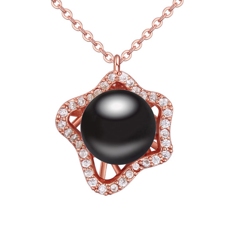 952bc3884 New Fashion Black Big Simulated Pearl Pendant Necklace Rose Gold Filled  Chain Maxi Colar Women Costume Jewelry