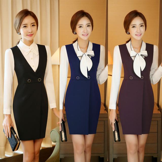 Nova Chegada Fino Fshion Formal Estilos OL Profissional Trabalho Negócio Ternos Com Blusas E Vestido Escritório Senhoras Outfits Set