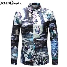 купить 2018 Spring New Print Fantasy Design Shirt Men Casual Long Sleeve Slim fit Shirts camisa masculina Male Fashion Dress Shirt по цене 861.69 рублей