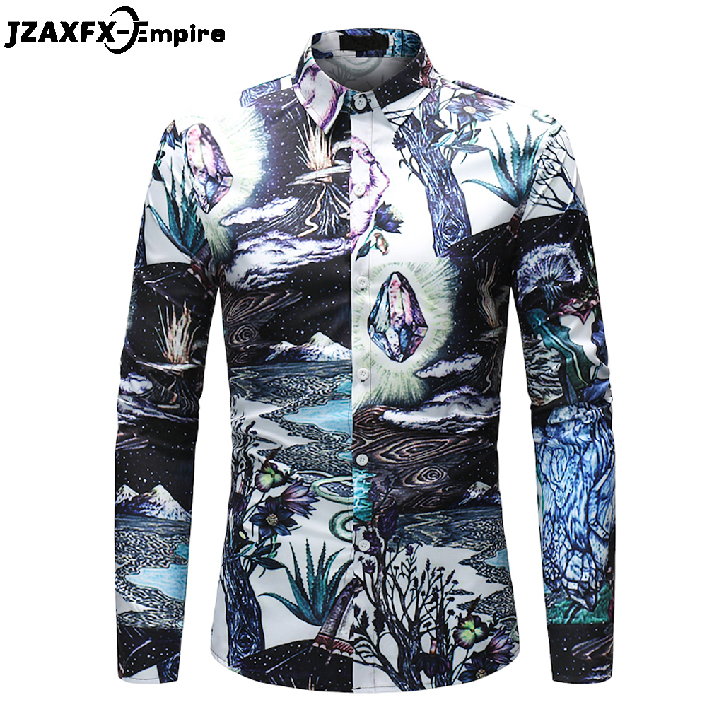 2018 Spring New Print Fantasy Design Shirt Men Casual Long Sleeve Slim fit Shirts camisa masculina Male Fashion Dress Shirt