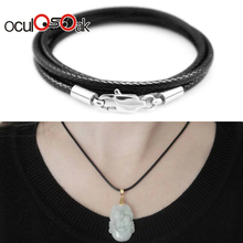 Jewelry Accessories Necklace Cord 1.5mm 2mm 3mm Black Leather Cord Wax Rope Chain Stainless Steel Lobster Clasp For DIY Necklace wholesale 2mm black brown red wax leather cord necklace rope 45 5cm chain lobster clasp diy jewelry accessories 100pcs fast