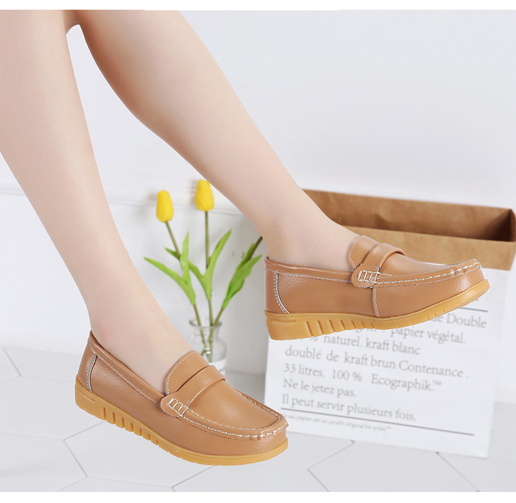 AH 2020-2019 Spring Autumn Women Loafers Genuine Leather Woman's Flats-17